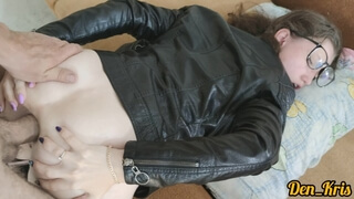 Cute Girl in a Leather Jacket Craves and Gets a Lot of Anal Sex to get Cum on her Face