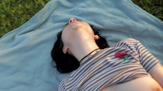 Public sex with busty teen ended with huge cumshot POV