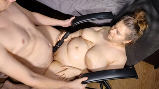 The Man Brought the Busty Girl to several Squirts with a Vibrator and Finished on her 4K