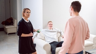 TUTOR4K Tutor with Sexy Bush has Unplanned Sex in Front of Shocked Son