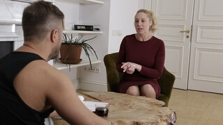 MATURE4K Naughty Mature Asks Man to Postpone Interview so they could have Sex