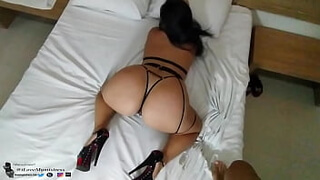 Hot Latina in Harness Lingerie Likes in the Ass