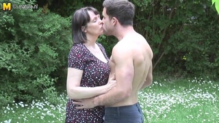 Big breasted British MOM fucking not her stepson