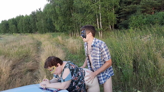 Fucking in the field - Russian outdoor