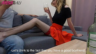 While the girl was in the shower, fucked her beautiful friend in stockings ANNA BALI
