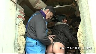 Grandpa fucks a hot milf with a buddy and cums on her big tits