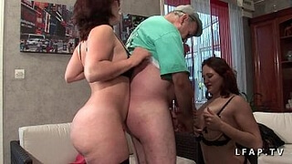 FFM 2 huge French sluts take care of the cock of an old man in heaven