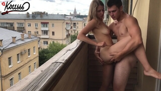 Outdoor Public Sex on the Balcony , Standing Doggystyle