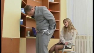 Boss and secretary in pantyhose