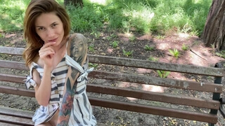 I take off my Panties in the Park in Full View and Play with my Pussy. Cum in the Car.