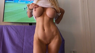 English Football Slut Distracts me from the Game with her Big Tits and Tight pussy-KJ