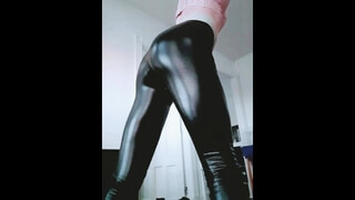 Spanking my Big Slutty Shemale Ass in Leather Leggings & Slow Motion