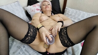 Gorgeous Russian Milf Pounds Herself In Both Holes .!.