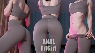 A sporty girl gets fucked in the ass with a huge dick and he fills her with a creampie.