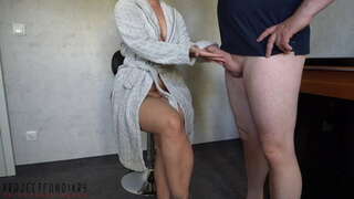 chubby housewife has fluffy bathrobe sex - projectsexdiary