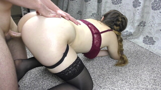 Teen Stepsis Shows Big Ass In Stockings