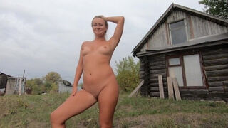 Naked Girl in a Russian Village