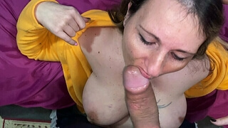 Naturally busty blonde wife takes it in every hole