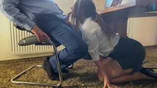 Trainee Sucks the Bosses Cock for her Career under the Desk in the Office and Swallows his Cum