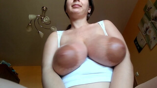 Tits play with cum on tits
