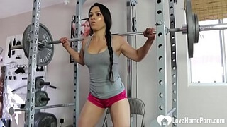 Horny Tia is working out very sexily