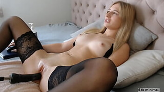 Petite Pretty Blonde Teased in Bed by Her Viewers