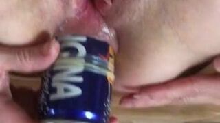 A little harder with a bottle of orangina double penetration