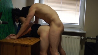 Fucked Hard from behind at the Desk at Work - Amateur Polish Couple