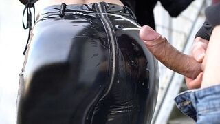 My Friend's Wife with Perfect Ass in Latex Pants get Cum Covered