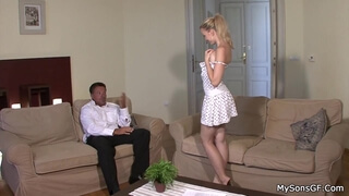 His blonde girl rides old step dad's cock