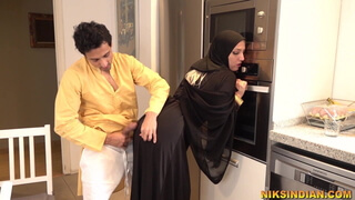 Muslim teen in Burka sucks brother's dick and gets fucked