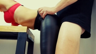 Blonde in Ripped Leather Leggings Gets Fucked and Cum Covered