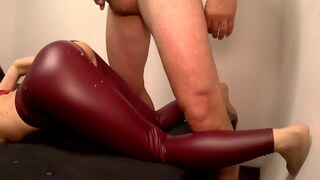 Fucked me through my Ripped Leather Pants & came on my Ass