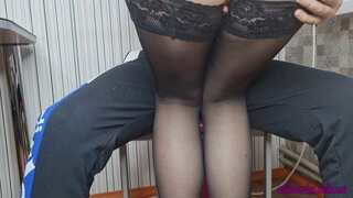 Sexy tutor in stockings seduced a student