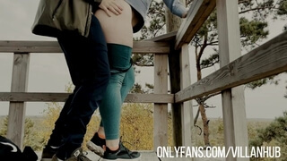 Hiking ends with teasing in a public and cum in pussy at home
