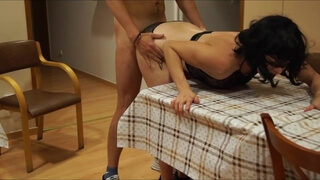 Big-ass brunette fucked hard from behind at the table and a blowjob - amateur Polish couple