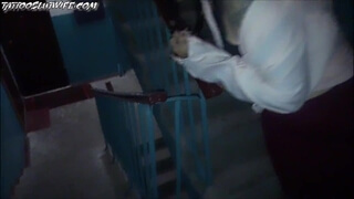 schoolgirl sucked on the staircase of her house. tried to be quiet so dad would not hear - tattooslu