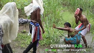 Somewhere in Africa, a maiden who went to the farm on a village's cultural day got fucked mercilessly by three masquerades