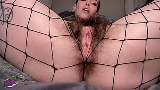 Black Gloves and Fishnets Hairy Pussy