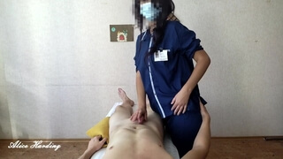 Alice gives a massage to a young 19 y.o client, and then agrees to have sex with him for money.