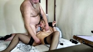 Depraved kinky mature bitch slapped on the lips with a hard dick and fucked in the ass! Hot slut mom